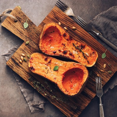 Roast Butternut squash with hazelnut oil