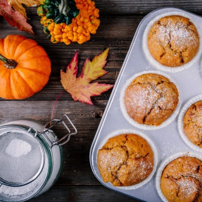 Sweet pumpkin and almond muffins
