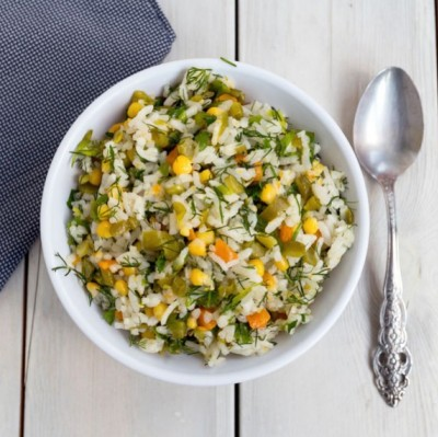 Rice Salad with Pumpkin Seed Oil